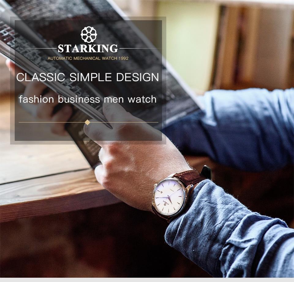 HTB1kZjCk29TBuNjy0Fcq6zeiFXay STARKING Automatic Watches Men Stainless Steel Business Wristwatch Leather Fashion 50M Waterproof Male Clock Relogio Masculino