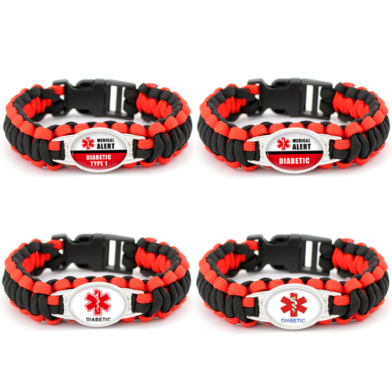 Medical Alert Bracelet >> DIABETIC Bracelets Outdoor Camping Rescue Braided Paracord Survival Bracelet Awareness Medical ...