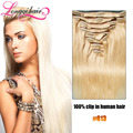 Clip en extensiones del pelo humano 613 # rubio 8 / pcs cabeza completa 100% brazilain virgen del pelo humano longqi remy clip en la extensión del pelo
