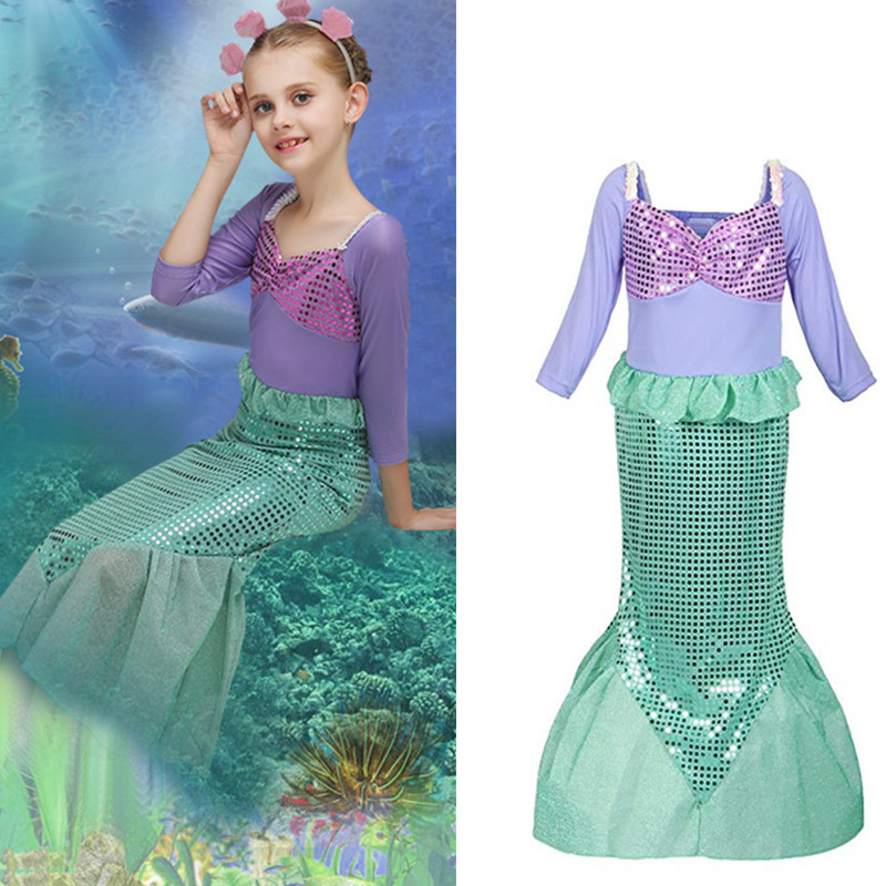 Girls Sequins Dress Little Mermaid Princess Ariel Costume Dress up Fancy Party Gown Dress Kid Clothing for Girl