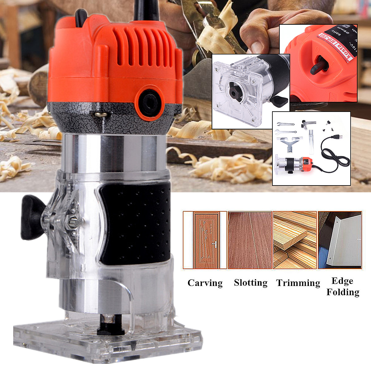 """Punctual 110v 750w 1/4"""" 60hz 30000r/min Corded Electric Hand Trimmer Wood Laminator Router Joiners Tools External Carbon Brush Lift Knob"""