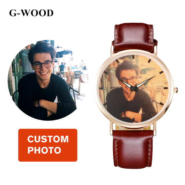 d47778c784c Custom Photo Vintage Classic Genuine Calf Cowhide Leather Couple Watch  Wristwatches for Men and Women Unisex