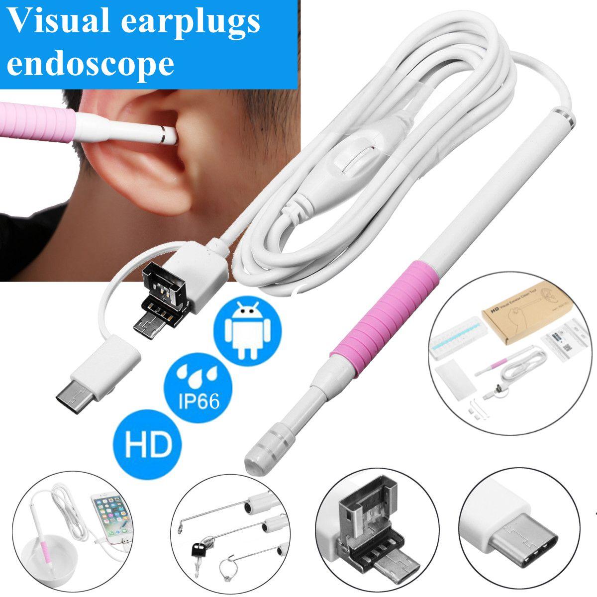 Endoscopio USB de limpieza de oreja 3 en 1 de 5,5mm con cuchara de oído Visual para cámara de otoscopio
