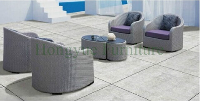 Mimbre exterior sofás individuales set para patio jardín de ratán ...