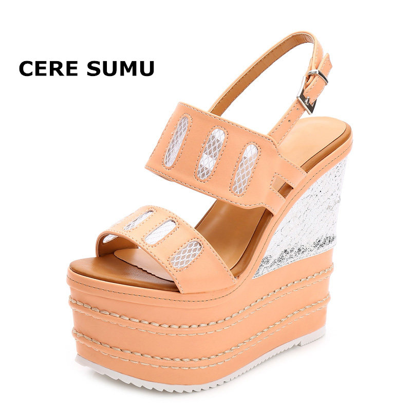 2018 Summer Sandals Women 16CM Super High Heels Platform Wedges Shoes Buckle Ankle Wrap Mesh Peep Open Toe Ladies Shoes Women hot 2018 summer new fashion women sandals wedges shoes high heel sandals platform open toe buckle casual shoes