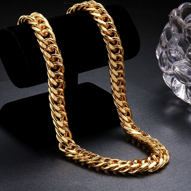 Cuban Link Chain Necklaces Men Fashion 20K Yellow Gold Plated Curb