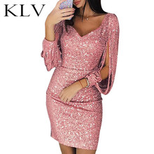 Women Sexy Glitter Sequins Stitching Tassel Long Sleeve Bodycon Mini Dress Deep V-Neck Solid Color Evening Party Clubwear