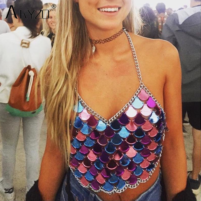 AKYZO 2017 Sexy   Tank     Tops   Scale Slice Sequin Metal Stitching Summer   Tank     Tops   Halter Party Camis Women Blusa Bralette Vest