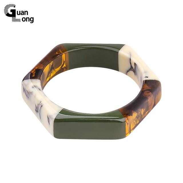 GuanLong Fashion Colorful Resin Geometric Hexagon Bangles Bracelets For Women Pa