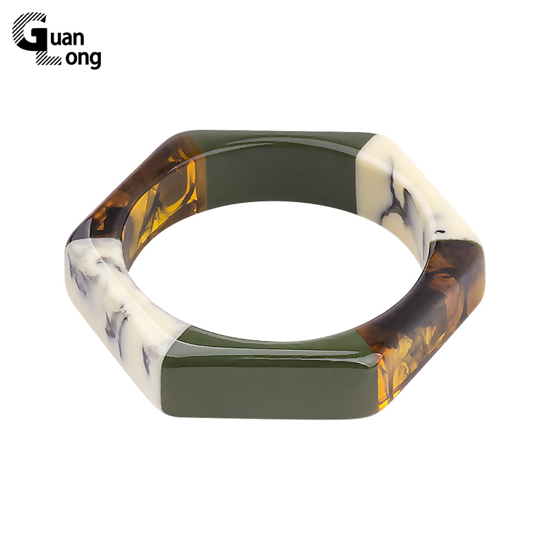 Guanlong moda colorido resina geométrica hexágono pulseiras pulseiras para festa feminina jóias transporte da gota por atacado