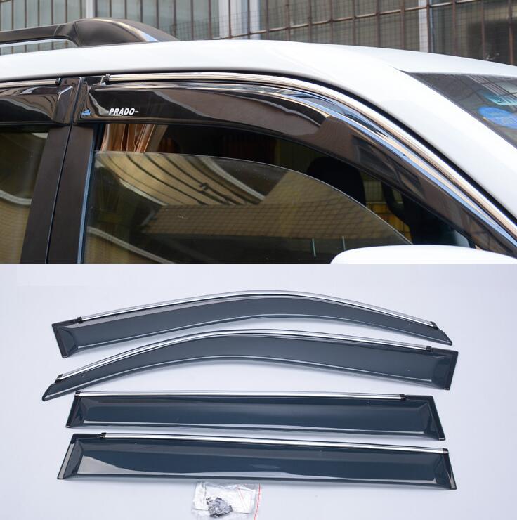 Автомобиль дождь окно солнцезащитный козырек солнцезащитный козырек отделка кузова окна козырек 4 шт. для Тойота Ленд Крузер Прадо 150 ФДЖ 10 11 12 13 14 15.
