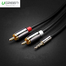 Ugreen 3.5mm HIFI Audio Cable To 2 RCA Aux Cable For Speaker DVD TV Home Theater Mobile Phone PC Notebook Tablet Amplifier