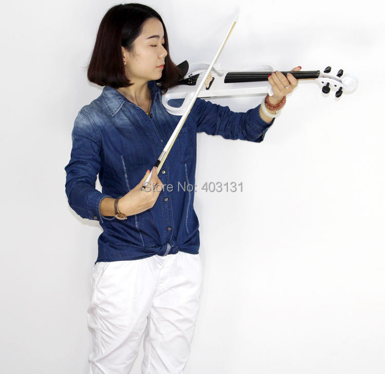 White 4/4 Electric Violin with Violin Case and Power Lines Super Handcraft Violin Free Shipping transparent 4 4 violin led light send violin hard case electric violin with colorful power lines and violin parts for lover