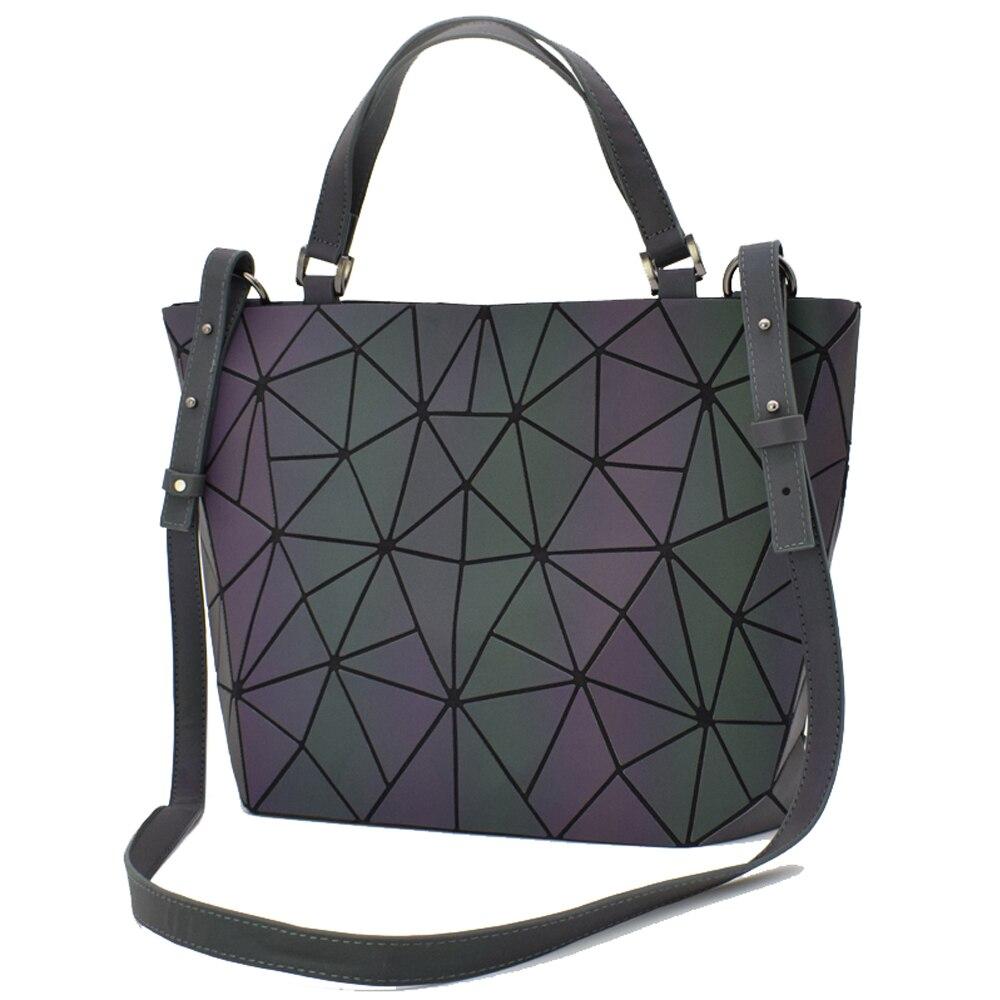 2019 Nova Luminous Saco Mulheres Geometria Diamante Sacola Dobrável Sacos de Ombro Dobrar Bolsas de Laser Simples Holograma Bolsa Bolso Feminino