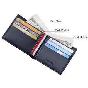 Image 2 - WilliamPOLO กระเป๋าสตางค์ผู้ชายสั้นสีแดง สีขาว แถบสีฟ้าช่องใส่การ์ด Ultrathin หนังแบบพกพากระเป๋าสตางค์ใหม่
