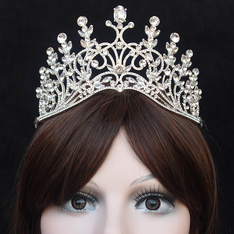 Trendy Rhinestone Luxury Large Queen Crown For Wedding Big Tiara Hair Jewelry For Bridal Hair Accessories LB
