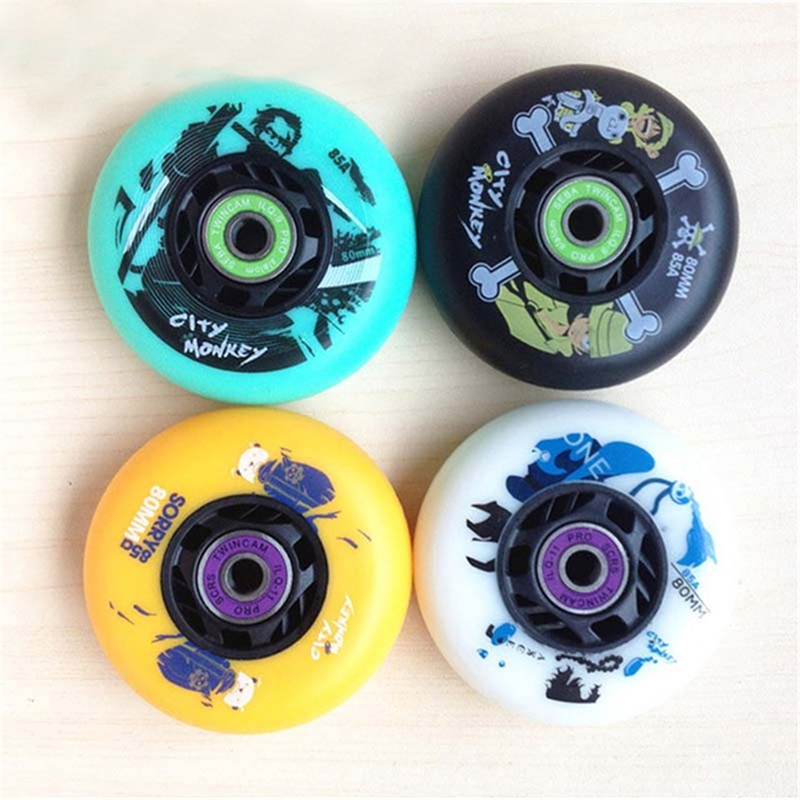 Japy Skate City Monkey Skate Wheels With 16 ILQ-11 Bearings And 8 Spacers Roller Slalom Tires Skating 72mm 76mm 80mm Wheels