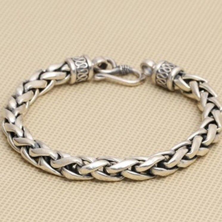 Одноцветное Серебро 925 Толстая браслет-цепочка Для мужчин простой Дизайн 100% реального стерлингового серебра 925 Винтаж Прохладный Для мужчи...