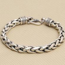 88d8de350067 Plata maciza 925 pulsera cadena gruesa de los hombres Simple diseño 100%  Real 925 plata esterlina Vintage Mens joyería caja rega.