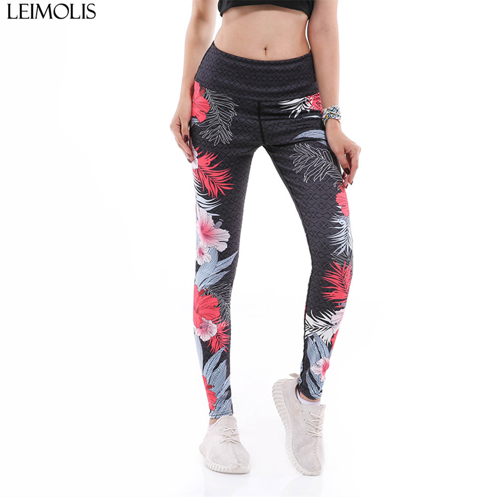 bf8ee1386d LEIMOLIS women casual fitness leggings 3D print flowers leaves lattice  female High Waist workout push up plus size pants legging
