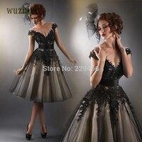 wuzhiyi Charming Prom Dress Sheer Neckline vestidos Black Lace Tulle Prom Dress Vestido Formatura Long vestidos de formatura