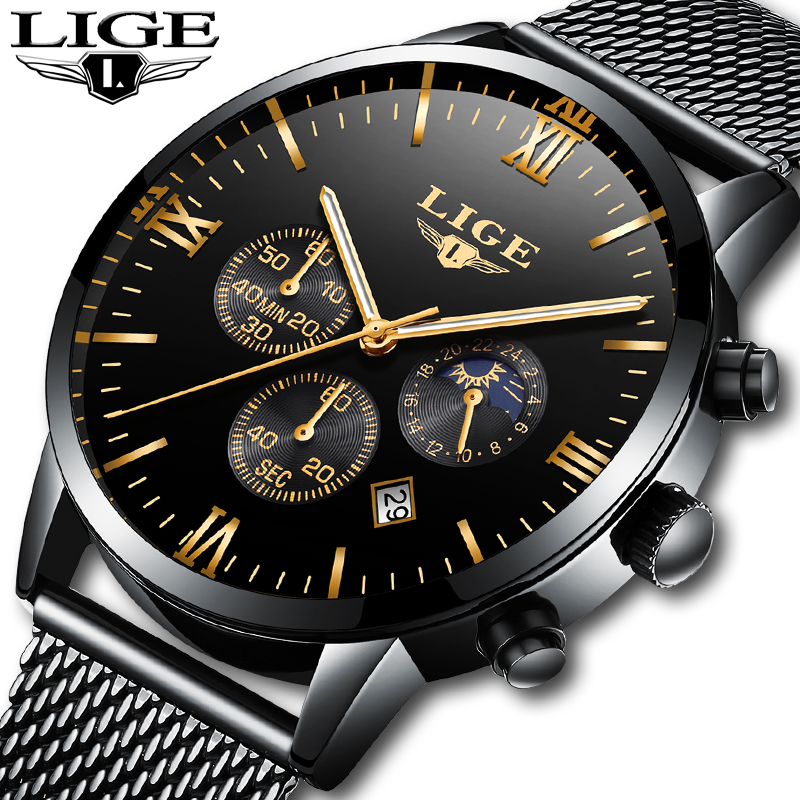 reloj hombre Men's Quartz Watch sports Business LIGE Men Watches Casual Fashion Military Male Clock Waterproof Top Luxury Brands men watch top luxury brand lige men s quartz watches fashion casual mesh belt dress business military male clock reloj hombre
