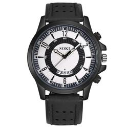 SOKI Watch Men Sport Clock 2018 Luxury New Fashion Silica Gel Leather Mens Glass Quartz Analog Date Watches Male reloj hombre A1