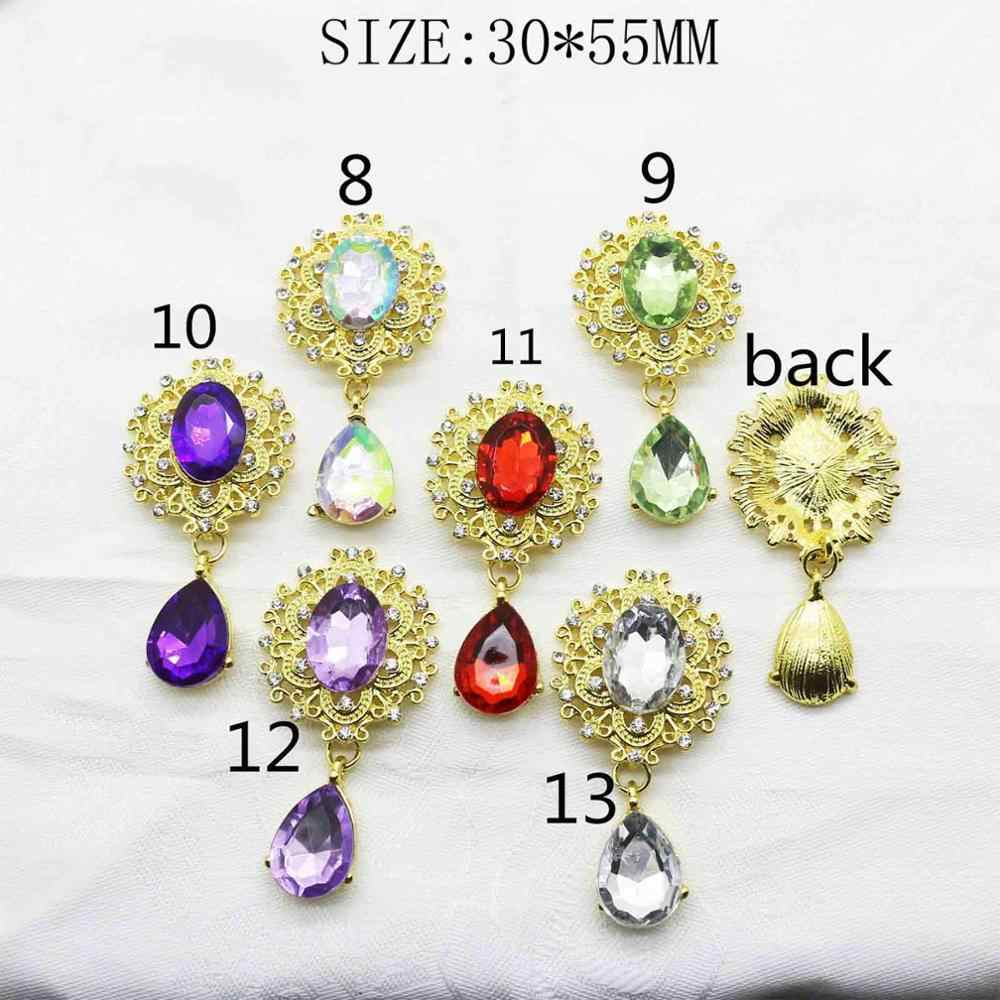 New 2pcs/lot 30*55mm Gold Flatback Brooch Acrylic Buttons Alloy Rhinestone crystal Jewelry fittings Decoration buckle