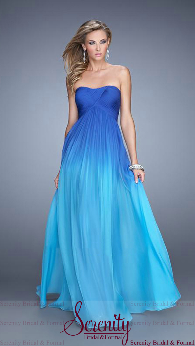 Blue Ombre Chiffon Long Prom Dresses 2015 Ombre Dress Floor Length ...
