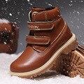 Детские ботинки  зимние кожаные ботинки для девочек  детская обувь для мальчиков  водонепроницаемые ботинки  зимние теплые хлопковые ботин...