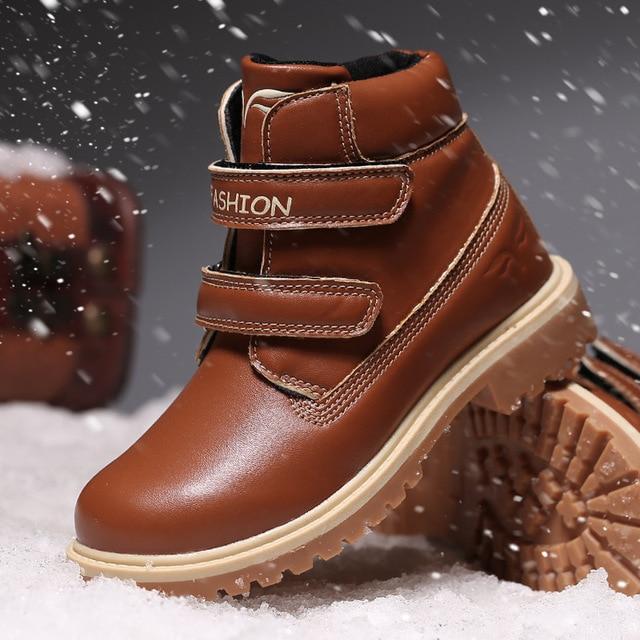 Bambini Stivali di Pelle di Neve Ragazza Caviglia Stivali Impermeabili Caldi di Inverno del Cotone Ragazzi Scarpe Scuola Scarpe Da Tennis dei Bambini Per I Ragazzi Stivali