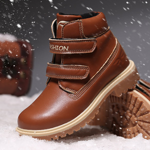 Image 1 - Kids Boots Snow Leather Girl Ankle Boots  Waterproof Winter Warm Cotton Boys Shoes School Sneakers Children Shoes For Boys Boots