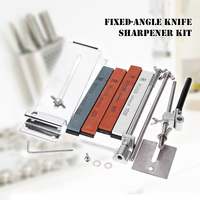 KKMOON Kitchen Knife Sharpener Kit Full Metal Stainless Steel Professional 4 Sharpening Stones Upgraded Fixed angle Knife