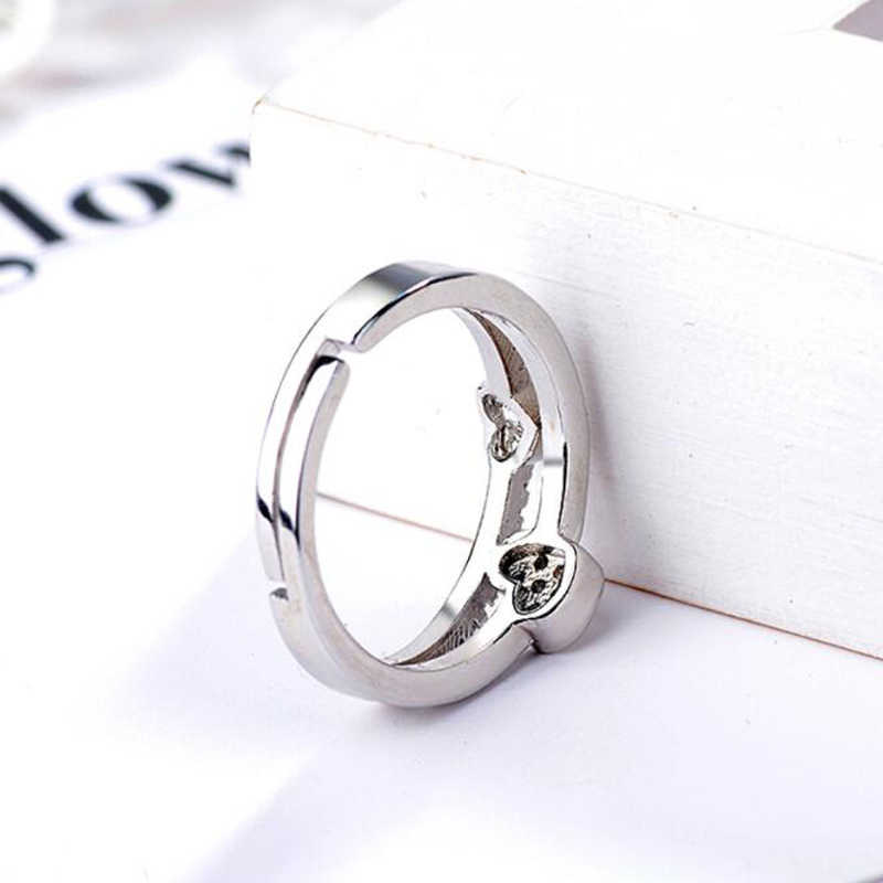 KOFSAC New Fashion 925 Pure Silve Rings For Women Shiny CZ Elegant Cute Double Layer Love Heart Opening Ring Finger Jewelry Gift
