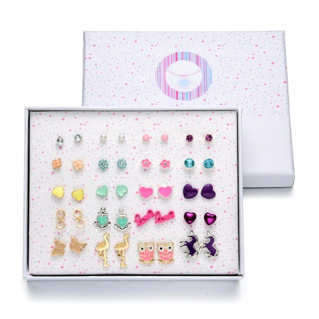 217afb41f Onnea 20 Pairs Variety Assorted Enamel Stud Earrings Set for Women Girls  Horse Owl Heart Flower Earring Jewelry Gift