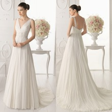New Pretty A-Line V-Neck Long White Ivory Wedding Dress Bridal Gown Straps Floor Length Backless Button