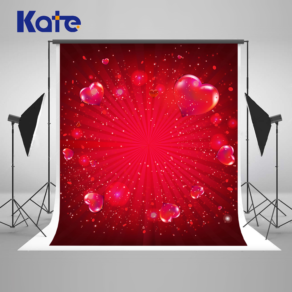 Kate 300cm Red Heart Valentines Day Photography Backdrops Children Wedding-Photo-Background Seamless Washable Photo Backdrop
