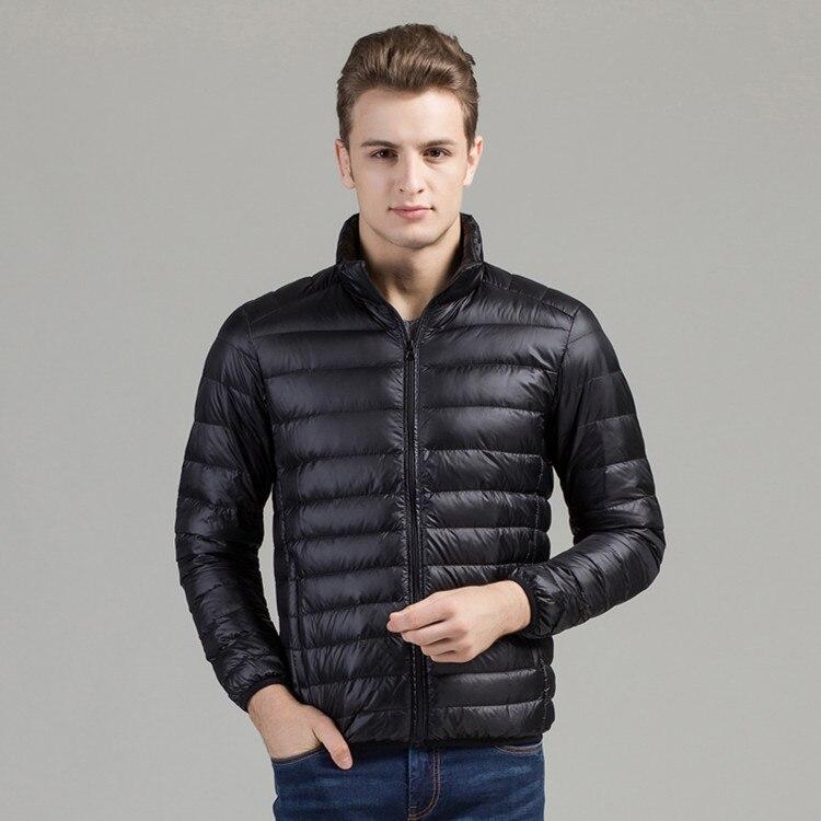 Fashion ultra thin lightweight white duck down jacket men stand collar warm winter down coat outerwear free shipping g7920