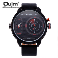Brand OULM Unique Design 2 Time Zone Watches Men Leather Strap LED Diaplay Water Resistant Casual
