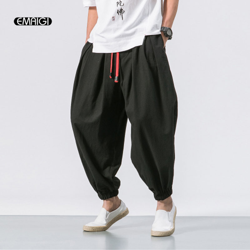 Men Fashion Loose Casual Pant Male Cotton Linen Harem Trousers Jogger Sweatpants