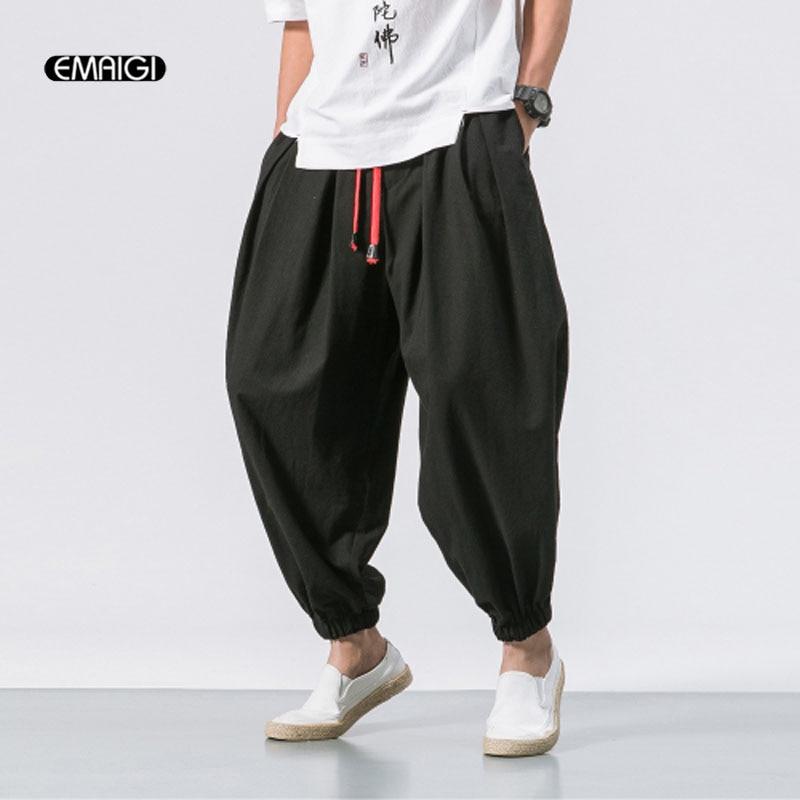 Men Fashion Loose Casual Pant Male Cotton Linen Harem Trousers Jogger Sweatpants