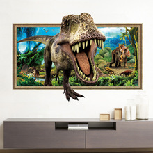 3D False Window Dinosaurs Wall Sticker Bedroom Living Room Removable Home Decor Sticker Mural Nalepki Do Pokoju