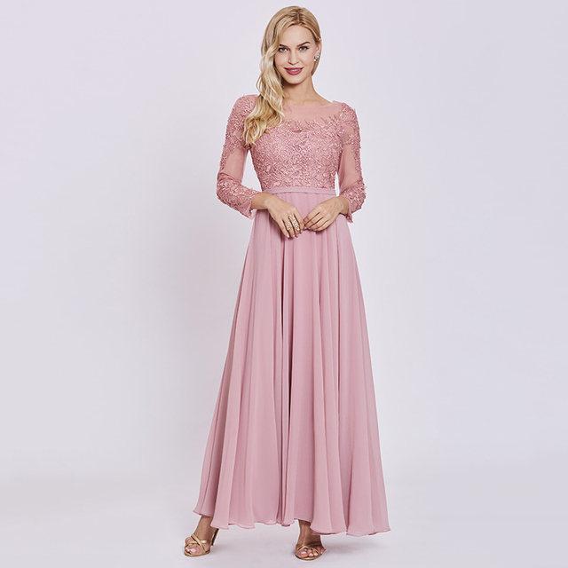 Tienda Online Tanpell vestido largo pink scoop completo mangas piso ...