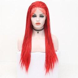 Charisma Hohe Temperatiure Faser Haar Perücken Mit Baby Haar Rot Lange Gerade Geflochten Synthetische Spitze Vorne Perücke Für Frauen