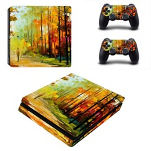 Chinese Painting Decal Skin Vinyl PS4 Slim Console and Two Controller Sticker for Playstation 4 Slim