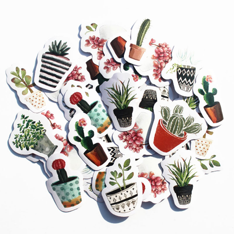 45pcs/pack Cute Cactus DIY Diary Planner Stickers Pack Post it Scrapbooking Album Sticky Kawaii Stationery
