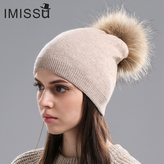 2b1eaf1cfdf IMISSU Winter Women s Hats Solid Color Thick and Warm Hats Real Wool  Knitted Casual Beanie with Raccoon Fur Pompom Free Shipping