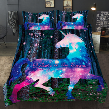 Galaxy Bedding Set | 3D Digital Printing Unicorn Bedding Dreamy Unicorn Fantasy Stars Galaxy Bedding Set 100% Microfiber Rainbow Color Bed Linen Set
