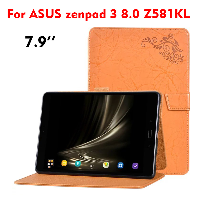 Zenpad 3 8.0 Z581KL Leather Case Cover Slim PU Flower Print Flip 7.9'' Protective Stand Smart Tablet Cases For ASUS zenpad 3 8.0 nice soft silicone back magnetic smart pu leather case for apple 2017 ipad air 1 cover new slim thin flip tpu protective case