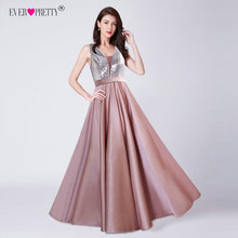 Ever Pretty V-Neck Sequined Bodice Backless A Line Long Evening Dresses Elegant Vestido De Festa Fast Shipping Satin Prom Gowns